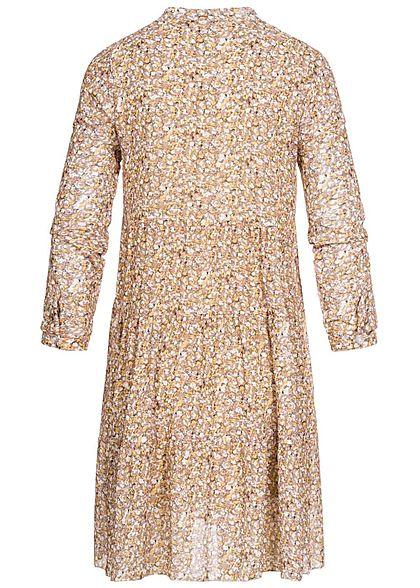 Zabaione Damen V-Neck Puffer Kleid Blumen Print 2-lagig beige