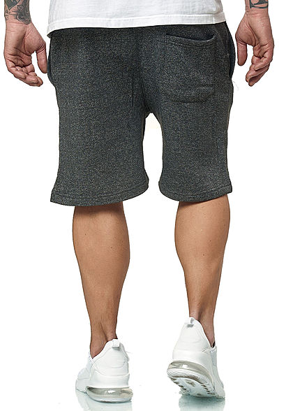Brave Soul Herren Melange Sweat Shorts 3-Pockets dunkel grau