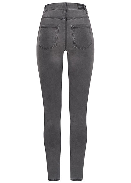 ONLY Damen NOOS Skinny Jeans Hose 5-Pockets High-Waist dunkel grau denim