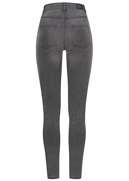ONLY Damen NOOS Skinny Jeans Hose 5-Pockets High-Waist dunkel grau denim