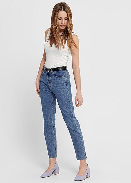 ONLY Damen NOOS Jeans Hose 5-Pockets High-Waist Straight Fransen dunkel blau denim