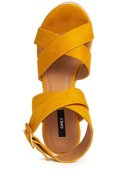 ONLY Damen Schuh Sandalette Keilabsatz 11cm Velour-Optik sunshine gelb
