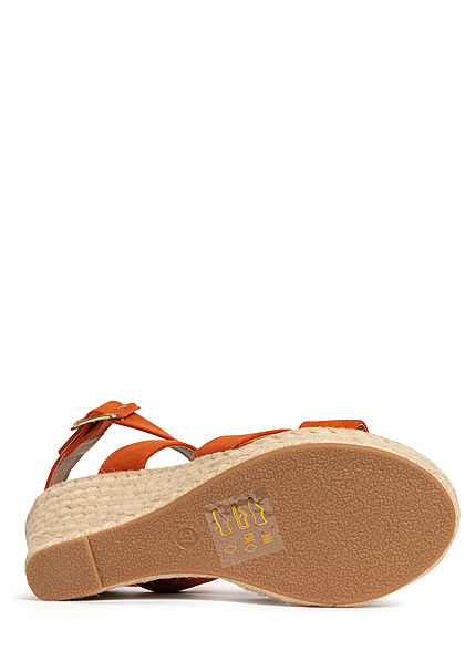 ONLY Damen Schuh Sandalette Keilabsatz 11cm Velour-Optik bossa nova orange braun