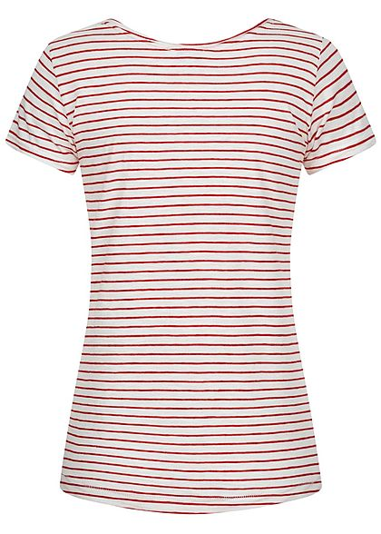 Sublevel Damen T-Shirt Anker Print Streifen Muster cherry rot weiss