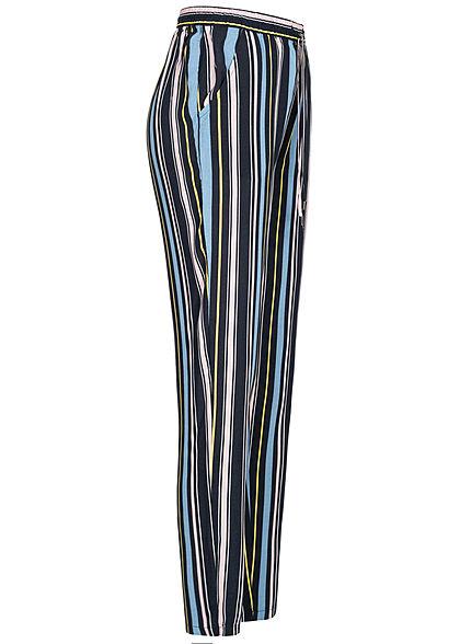 Sublevel Damen Sommerhose 2-Pockets Multicolor Streifen Tunnelzug rosa mc