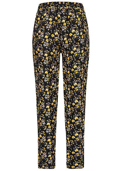 Sublevel Damen Sommerhose 2-Pockets Blumen Muster Tunnelzug schwarz gelb
