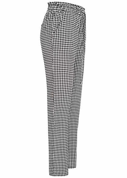 Sublevel Damen Paperbag Sommerhose 2-Pockets Karo Muster schwarz weiss