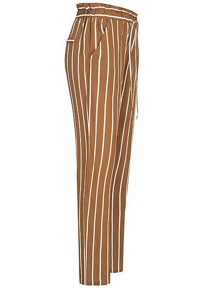 Sublevel Damen Paperbag Sommerhose 2-Pockets Streifen Muster braun weiss