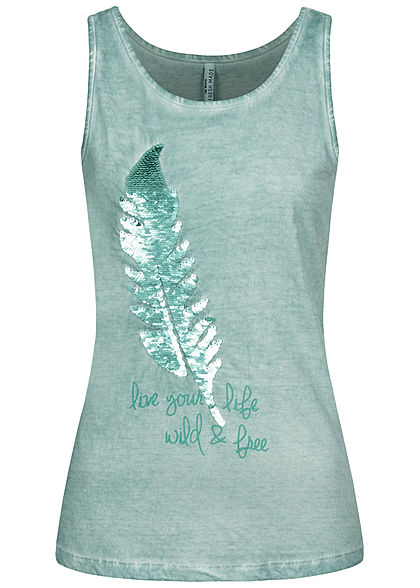 Fresh Made Damen Tank Top Feder Wendepailletten misty mint grün