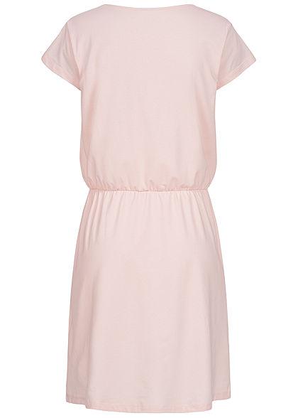 Eight2Nine Damen T-Shirt Kleid Brusttasche Gummi in Taille shell rosa