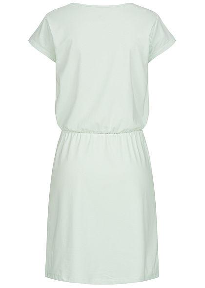 Eight2Nine Damen T-Shirt Kleid Brusttasche Gummi in Taille iced grün melange