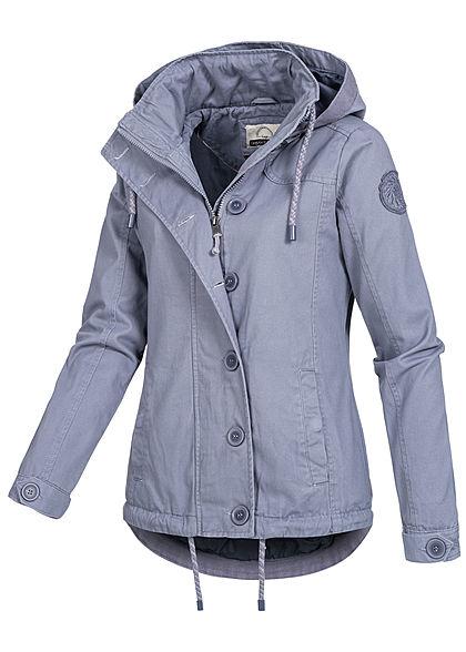 Urban Surface Damen Übergangs Jacke 2-Pockets abnehmb Kapuze flintstone blau