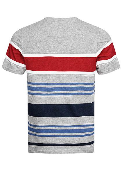 Brave Soul Herren T-Shirt Streifen Muster grau rot blau