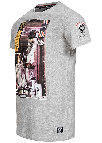 Brave Soul Herren T-Shirt Barber Shop Print grau melange