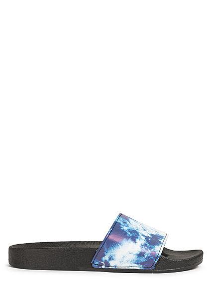 Brave Soul Herren Schuh Badesandale Batik Print indigo blau weiss schwarz