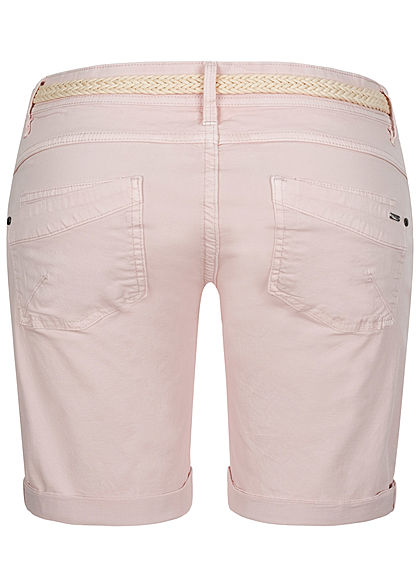 Stitch and Soul Damen Bermuda Shorts inkl. Flechtgürtel 5-Pockets greyish rosa