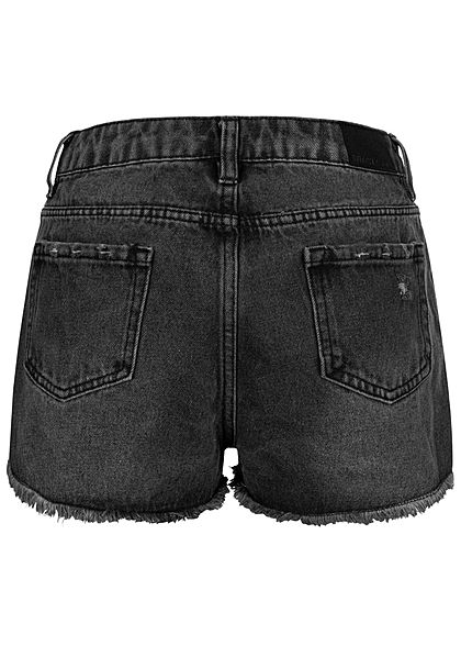 Stitch and Soul Damen Jeans Shorts High-Waist 5-Pockets Destroy Look Fransen schwarz