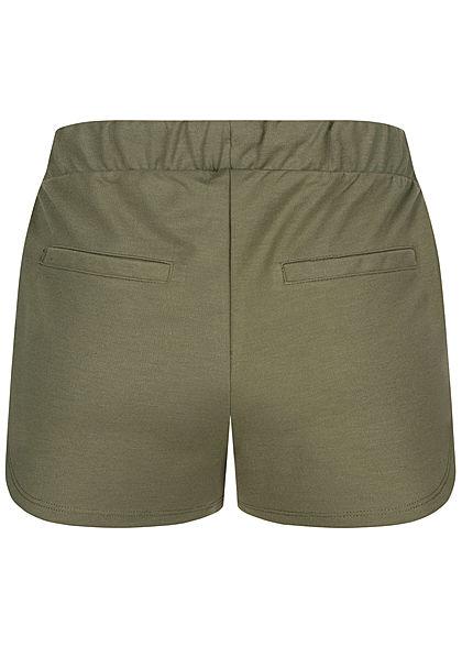 Stitch and Soul Damen Sweat Shorts 2-Pockets Tunnelzug ivy oliv grün