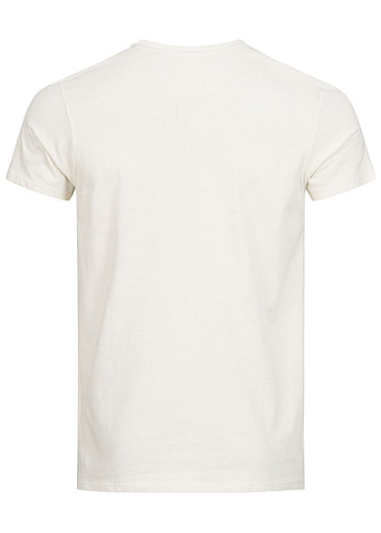 Hailys Herren T-Shirt Brusttasche Flugzeug Print weiss beige
