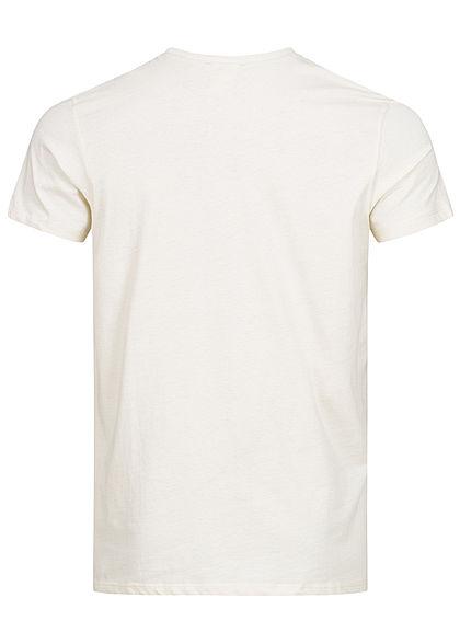Hailys Herren T-Shirt Brusttasche Strand Print weiss beige