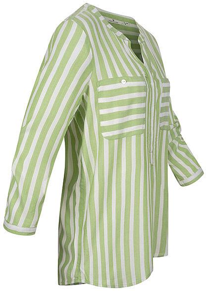 TOM TAILOR Damen V-Neck Bluse Streifen Muster 2 Brusttaschen grün weiss
