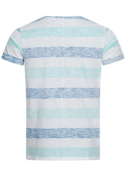 Eight2Nine Herren Multicolor T-Shirt Inside Streifen Muster Brusttasche türkis blau weiss