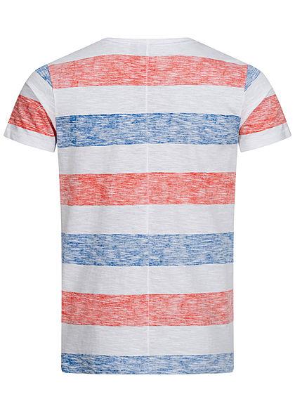 Eight2Nine Herren Multicolor T-Shirt Inside Streifen Muster Brusttasche rot blau weiss