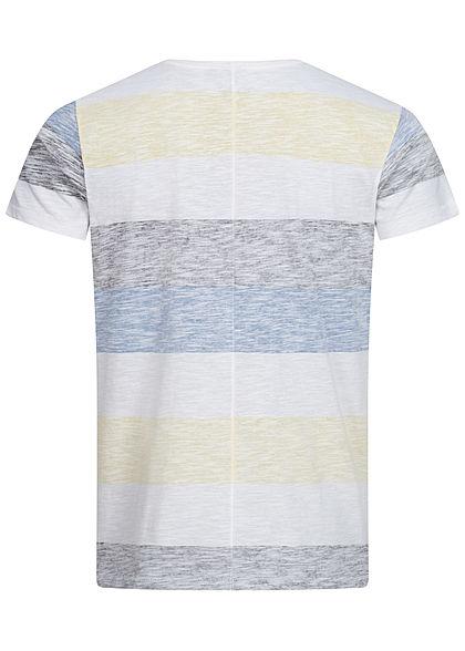Eight2Nine Herren Multicolor T-Shirt Inside Streifen Muster Brusttasche gelb grau weiss