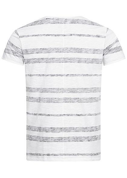Eight2Nine Herren Multicolor T-Shirt Inside Streifen Muster Brusttasche schwarz weiss