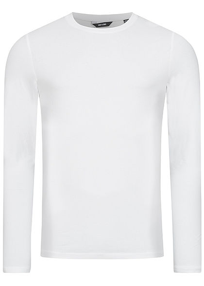 ONLY & SONS Herren NOOS Basic Longsleeve Slim Fit weiss
