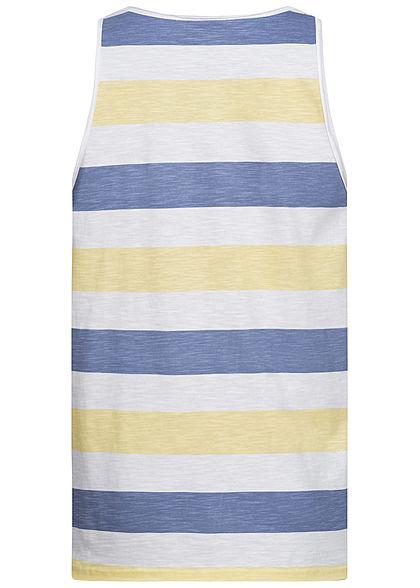 Eight2Nine Herren Multicolor Tank Top Inside Streifen Muster Brusttasche gelb blau