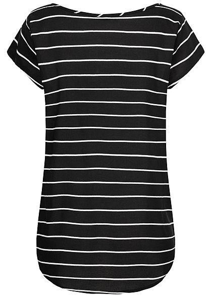 Eight2Nine Damen Blusen Shirt Streifen Muster Vokuhila schwarz weiss