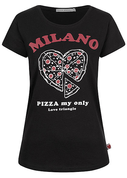 Rock Angel Damen T-Shirt Pizza Print Milano schwarz weiss rot - Art.-Nr.: 20031346
