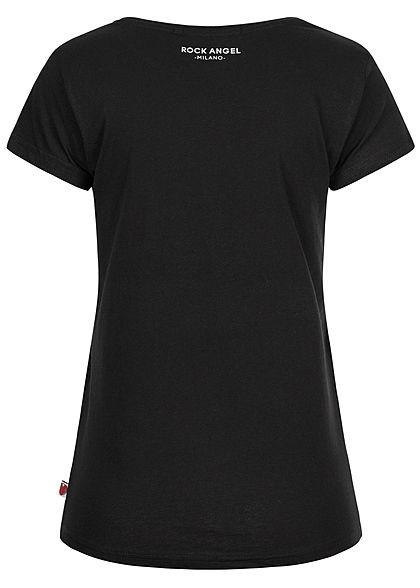 Rock Angel Damen T-Shirt Pizza Print Milano schwarz weiss rot
