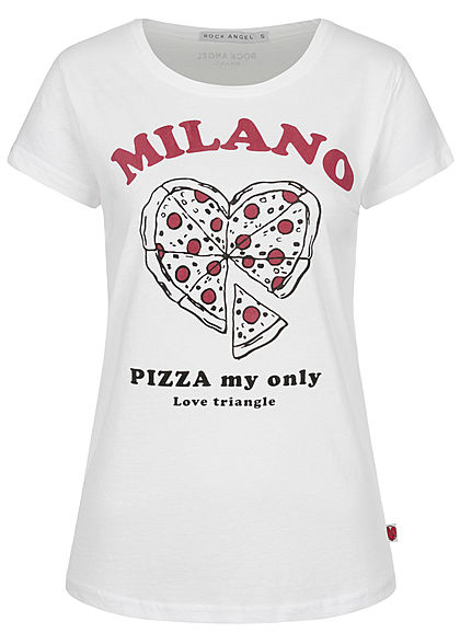 Rock Angel Damen T-Shirt Pizza Print Milano weiss schwarz rot - Art.-Nr.: 20031347