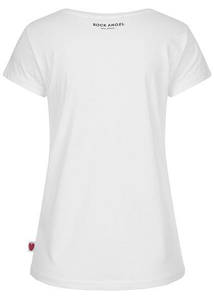 Rock Angel Damen T-Shirt Pizza Print Milano weiss schwarz rot