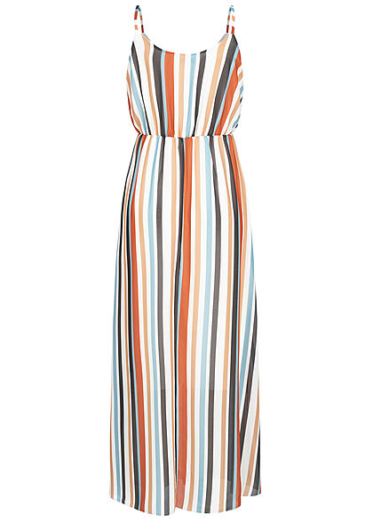 Hailys Damen Maxi Chiffon Kleid Streifen Muster 2-lagig hazel braun multicolor