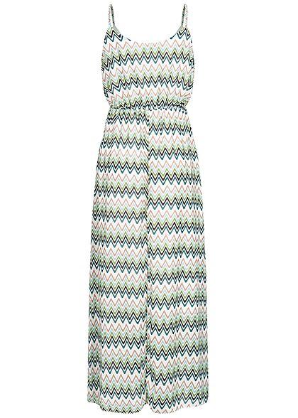 Hailys Damen Maxi Chiffon Kleid Streifen Muster 2-lagig Zick Zack Print grün