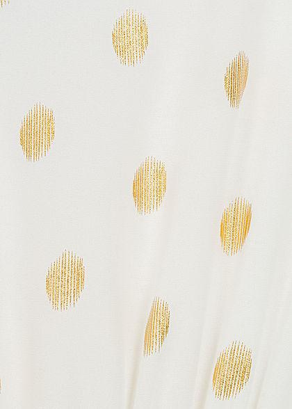 Hailys Damen  V-Neck Chiffon Kleid Punkte Muster 2-lagig Volantärmel weiss gold