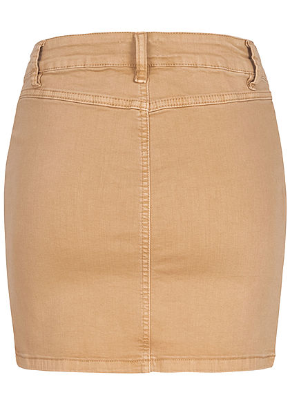 Hailys Damen Mini Jeans Rock Knopfleiste 2-Pockets beige