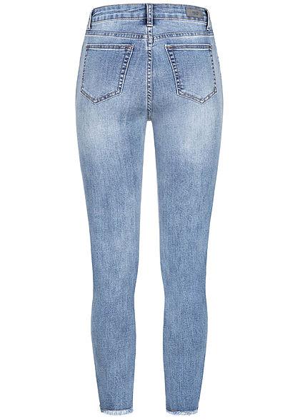 Hailys Damen Jeans Hose High-Waist 5-Pockets Fransen medium blau denim