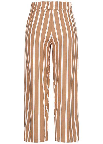 Hailys Damen 3/4 Sommerhose 2-Pockets Streifen Muster camel braun weiss