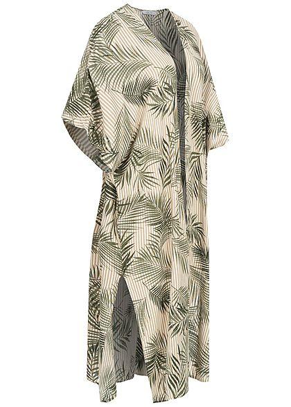 Hailys Damen 1/2-Arm Cardigan Streifen Floraler Print beige grün