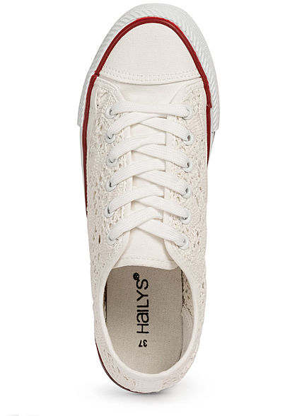 Hailys Damen Schuh Canvas Sneaker Häkel-Optik weiss
