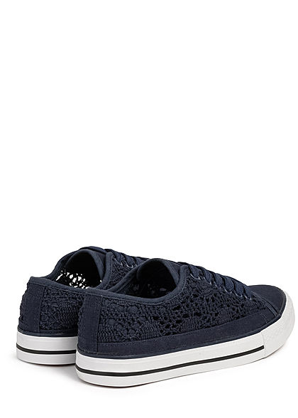 Hailys Damen Schuh Canvas Sneaker Häkel-Optik navy blau
