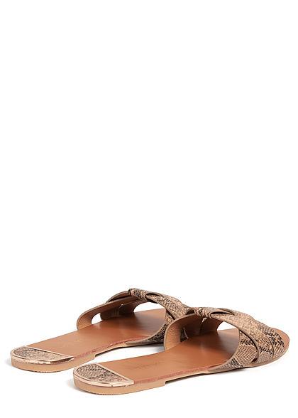 Hailys Damen Schuh Sandale Schlangenhaut Muster beige