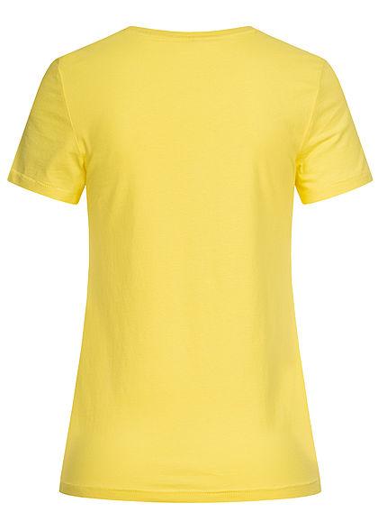ONLY Damen T-Shirt Smoothie Print mit Pailletten limelight gelb
