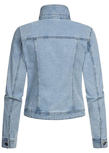 ONLY Damen Jeans Jacke 4-Pockets Knopfleiste hell blau denim