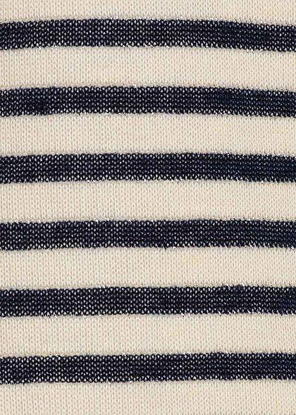 ONLY Damen Lurex Top Streifen Muster Bindedetail night sky dunkel blau beige