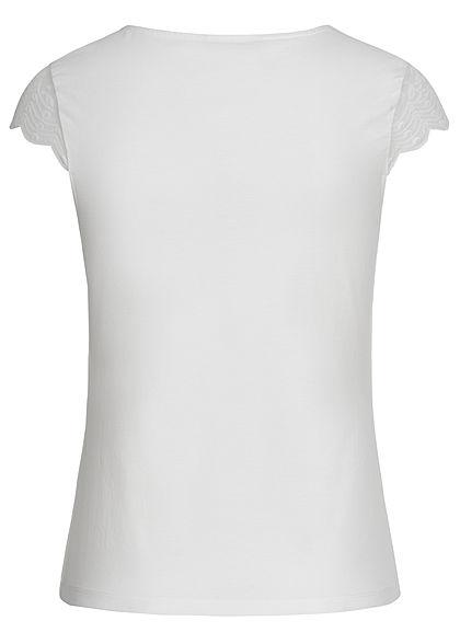 ONLY Damen V-Neck T-Shirt mit Spitze cloud dancer weiss
